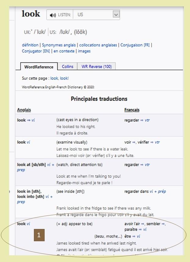 comment utiliser un dictionnaire pour traduire une phrase de l'anglais? Recherche Wordreference look