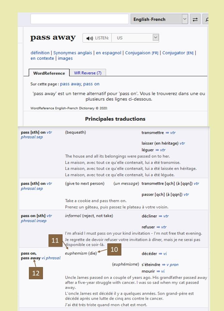 comment utiliser un dictionnaire pour traduire une phrase de l'anglais? Recherche Wordreference pass away