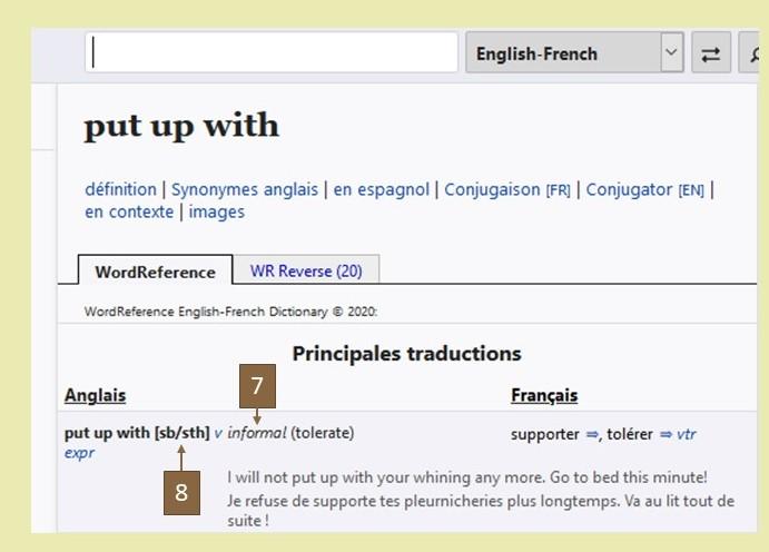 comment utiliser un dictionnaire pour traduire une phrase de l'anglais? Recherche Wordreference put up with