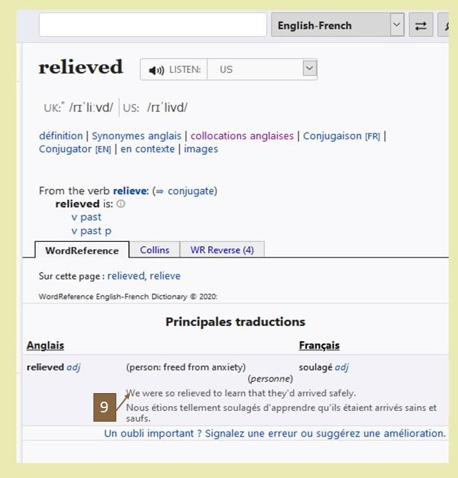 comment utiliser un dictionnaire pour traduire une phrase de l'anglais? Recherche Wordreference relieved
